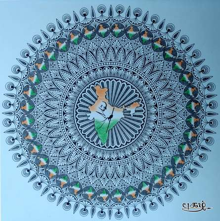 India Mandala | Drawing by artist V Pugalenthi | | Pen&Ink | Paper