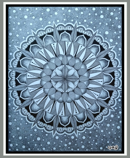 Pen-ink Paintings | Drawing title Pointillism Mandala on Paper | Artist V Pugalenthi