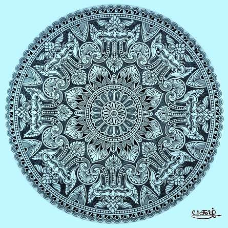 pattern Pen-ink Art Drawing title Traditional Naasi Mandala by artist V Pugalenthi