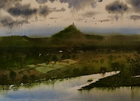Sohel Sayyad | Watercolor Painting title Beauty of village 2 on paper | Artist Sohel Sayyad Gallery | ArtZolo.com