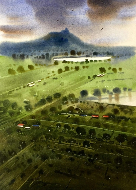 Sohel Sayyad | Watercolor Painting title Beauty of village on Paper | Artist Sohel Sayyad Gallery | ArtZolo.com