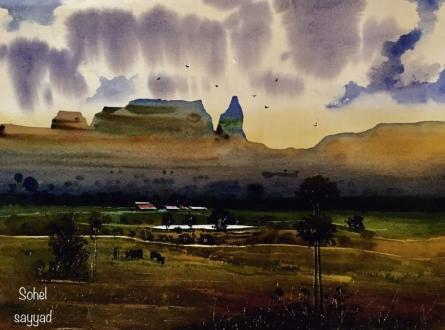 Sohel Sayyad Paintings | Landscape Painting - Beauty of village by artist Sohel Sayyad | ArtZolo.com