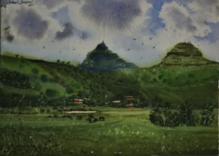 Landscape Watercolor Art Painting title 'Beauty of village 2' by artist Sohel Sayyad