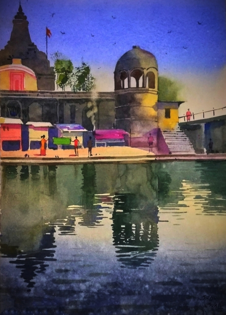 Sohel Sayyad | Watercolor Painting title Village 3 on Paper | Artist Sohel Sayyad Gallery | ArtZolo.com
