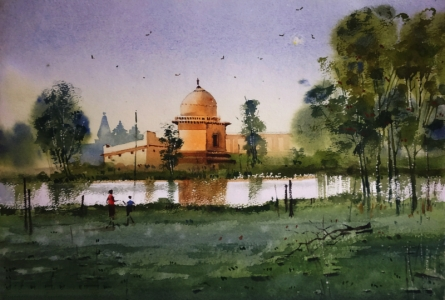 Nature Watercolor Art Painting title 'Village 5' by artist Sohel Sayyad