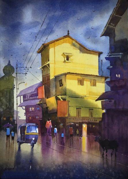 Nature Watercolor Art Painting title 'Village 6' by artist Sohel Sayyad