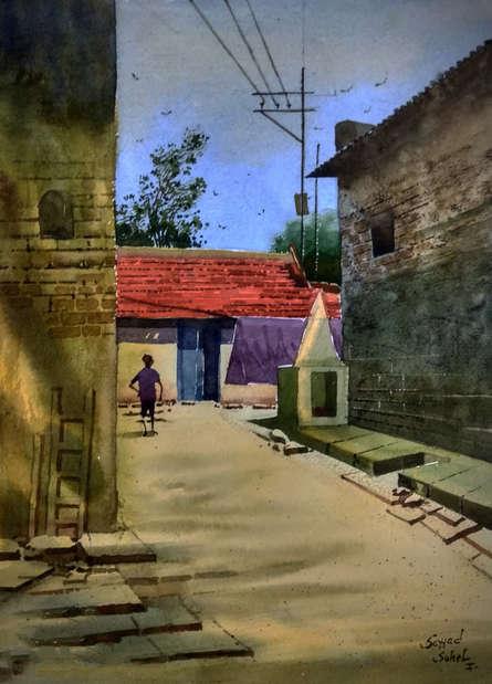 Sohel Sayyad | Watercolor Painting title Village 8 on Paper | Artist Sohel Sayyad Gallery | ArtZolo.com