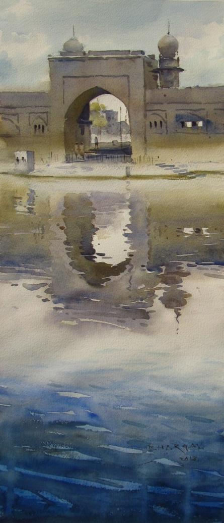 Around The Water Vijapur | Painting by artist Bhargavkumar Kulkarni | watercolor | Paper