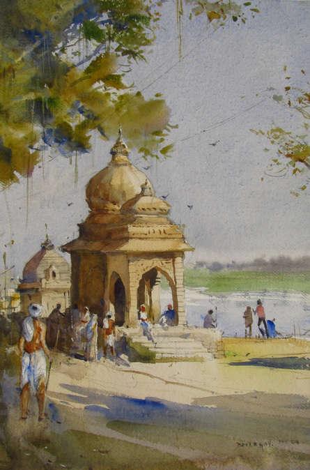 Cityscape Watercolor Art Painting title 'Maheshwar 2' by artist Bhargavkumar Kulkarni