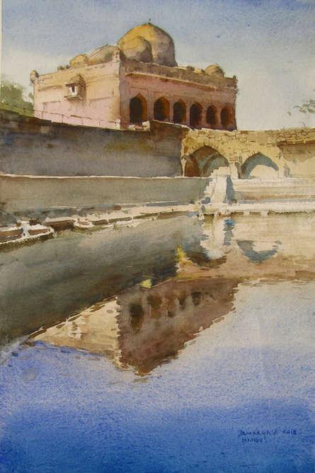 Landscape Watercolor Art Painting title 'Mandu' by artist Bhargavkumar Kulkarni