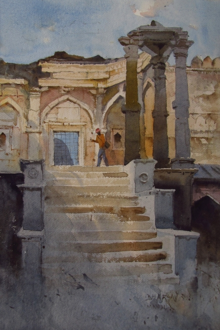 Landscape Watercolor Art Painting title 'Mandu 2' by artist Bhargavkumar Kulkarni
