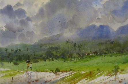 Nature Watercolor Art Painting title 'Monsoon 1' by artist Bhargavkumar Kulkarni