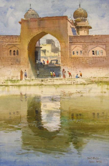Cityscape Watercolor Art Painting title 'Taj Bavadi' by artist Bhargavkumar Kulkarni