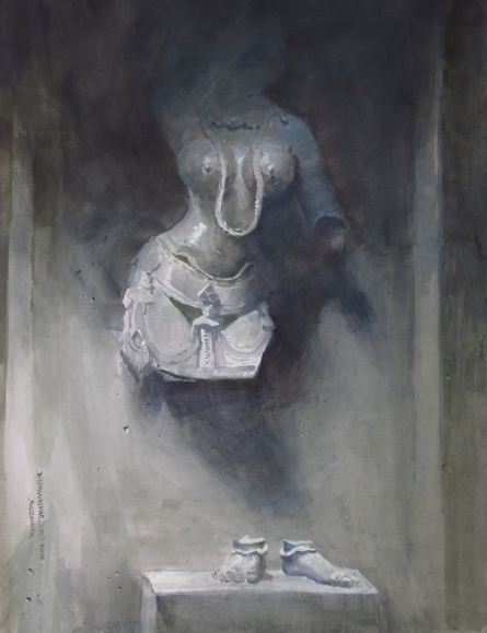 Figurative Watercolor Art Painting title 'Untitled' by artist Bhargavkumar Kulkarni