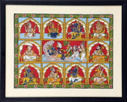Traditional Indian art title Dashavtar on Cloth - Cheriyal Paintings
