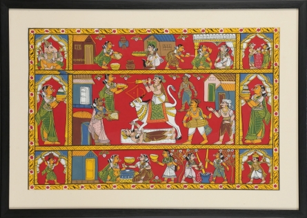 Traditional Indian art title Sankrant festival on Cloth - Cheriyal Paintings