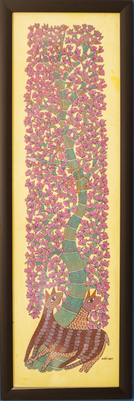 Traditional Indian art title Deer under tree Gond Art on Canvas - Gond Paintings