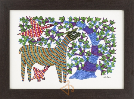 Traditional Indian art title Deer and Peacocks Gond Art 2 on Canvas - Gond Paintings