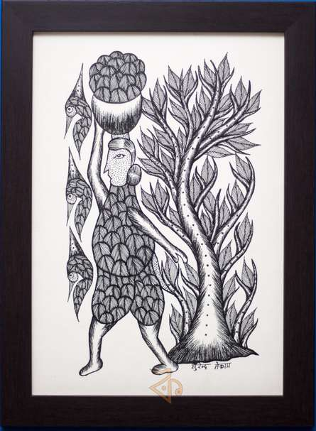 Traditional Indian art title Woman carrying pot Gond Art on Canvas - Gond Paintings
