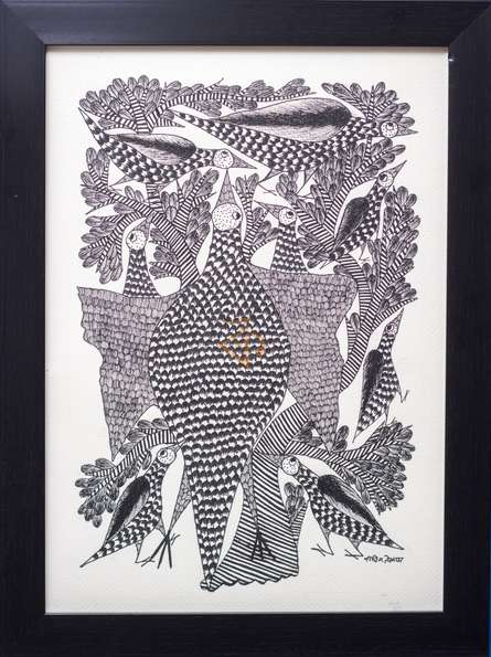 Traditional Indian art title Peacock family Monochrome on Canvas - Gond Paintings