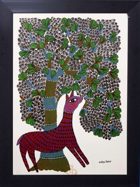 Traditional Indian art title Deer under tree red Gond Art on Canvas - Gond Paintings