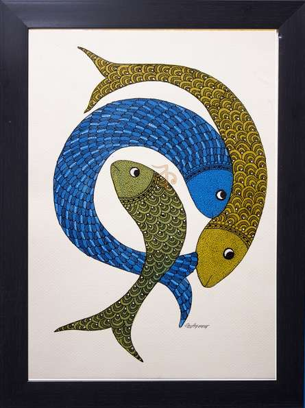 Three Fish Gond Art By Kalavithi Art Ventures Canvas Traditional Art