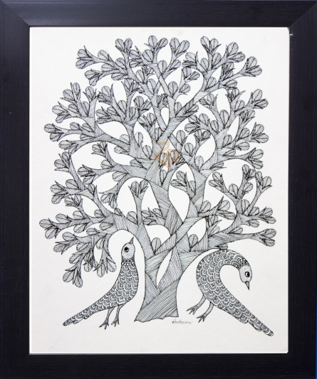 Traditional Indian art title Peacocks under tree monochrome on Canvas - Gond Paintings