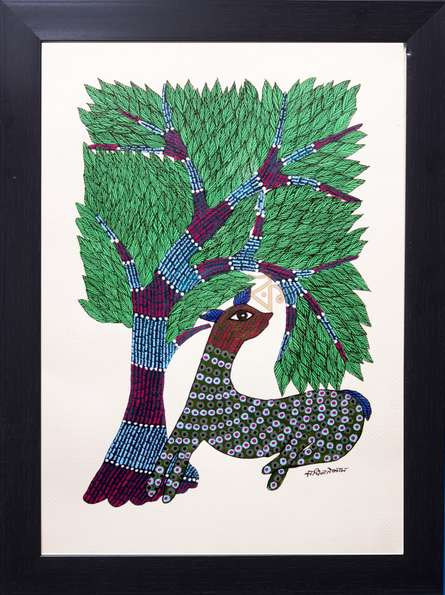 Kalavithi Art Ventures | Gond Traditional art title Green spotted deer under tree on Canvas | Artist Kalavithi Art Ventures Gallery | ArtZolo.com
