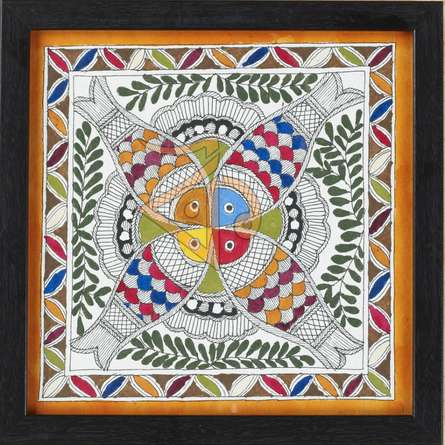 Traditional Indian art title Fish 3 Madhubani Painting on Cloth - Madhubani Paintings