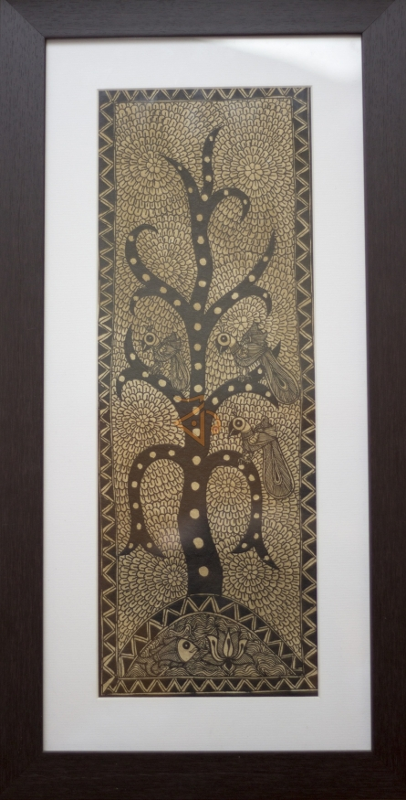 Traditional Indian art title Tree of life yellow Madhubani Painting on Cloth - Madhubani Paintings