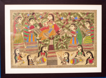 Traditional Indian art title Krishnaleela gopis river Madhubani on Cloth - Madhubani Paintings