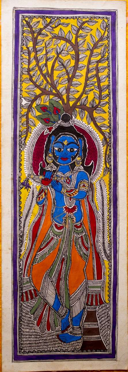 Kalaviti Arts | Madhubani Traditional art title Krishna playing flute Madhubani Painting on Cloth | Artist Kalaviti Arts Gallery | ArtZolo.com