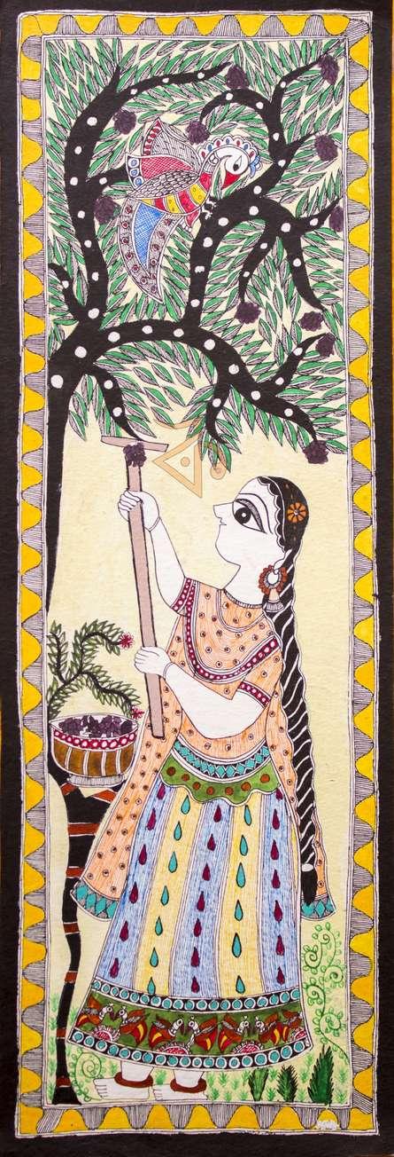 Traditional Indian art title Radha Feeding Peacocks Madhubani on Cloth - Madhubani Paintings