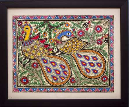 Traditional Indian art title Peacocks Madhubani Painting on Cloth - Madhubani Paintings