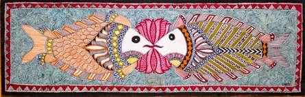 Traditional Indian art title Fish 3 Madhubani Painting on Cloth - Madhubani Paintings