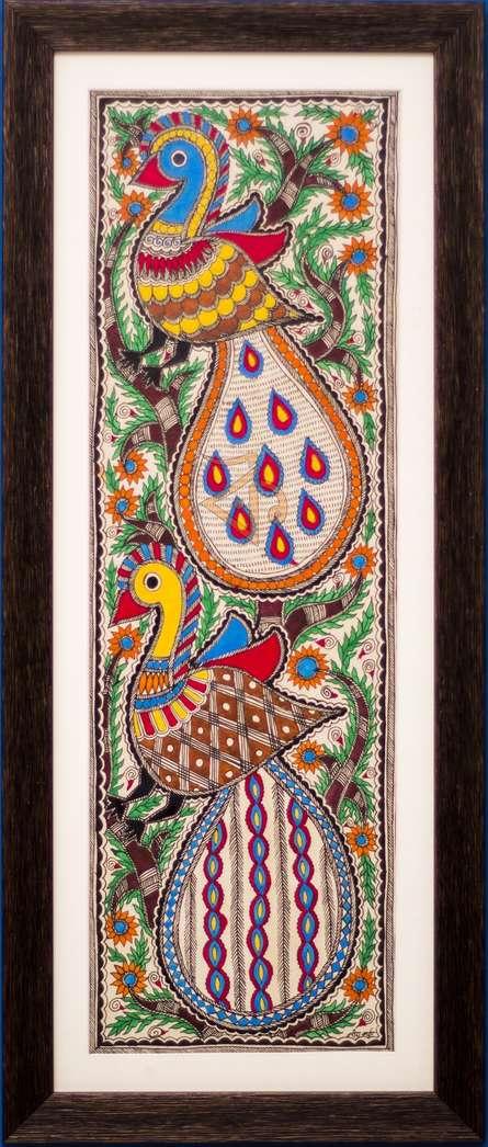 Traditional Indian art title 2 peacocks Madhubani Painting on Cloth - Madhubani Paintings