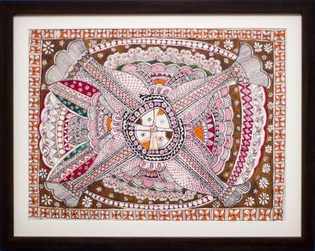 Traditional Indian art title Four fishes Madhubani Painting on Cloth - Madhubani Paintings