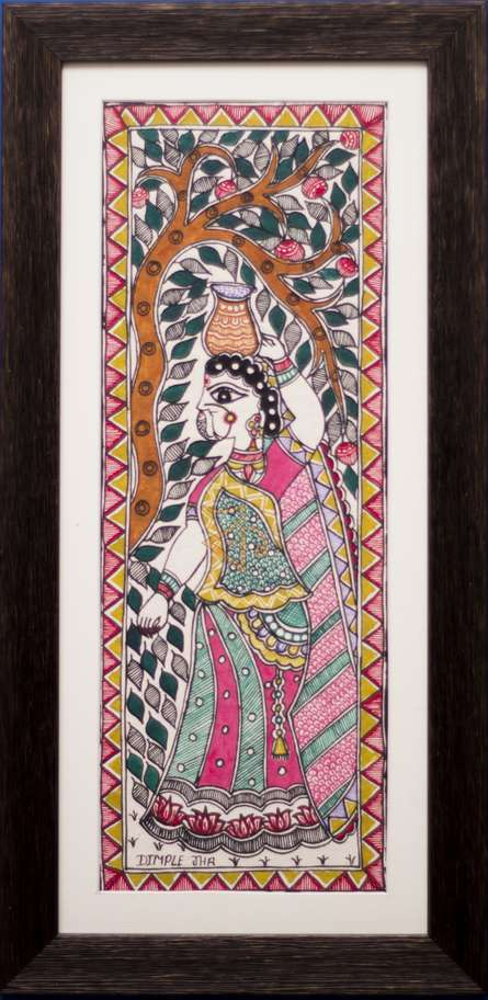 Traditional Indian art title Woman Carrying Pot Madhubani Painting on Cloth - Madhubani Paintings
