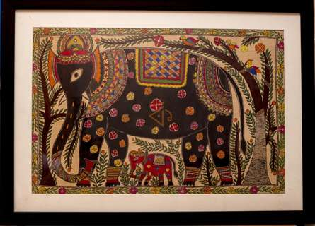 Traditional Indian art title Elephant 2 Madhubani Painting on Cloth - Madhubani Paintings