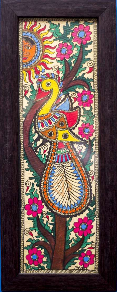 Traditional Indian art title Peacock 3 Madhubani Painting on Cloth - Madhubani Paintings
