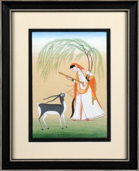 Kalavithi Art Ventures | Mughal Traditional art title Ragini Todi 1 Kangra Art on Handmade Paper | Artist Kalavithi Art Ventures Gallery | ArtZolo.com
