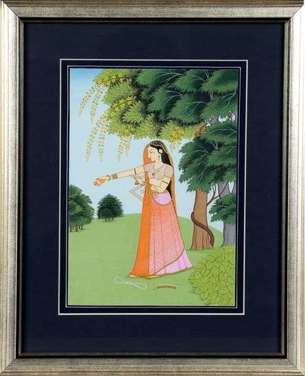 Traditional Indian art title Bipralabdha Nayika Nayika Bhed on Handmade Paper - Mughal Paintings