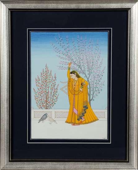 Traditional Indian art title Virharinayika Kangra Art on Handmade Paper - Mughal Paintings