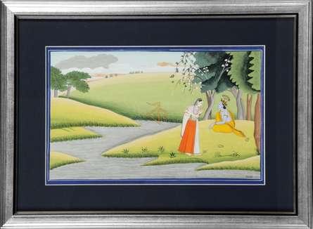 Kalavithi Art Ventures | Mughal Traditional art title Radhakrishna Kangra Art 2 on Handmade Paper | Artist Kalavithi Art Ventures Gallery | ArtZolo.com