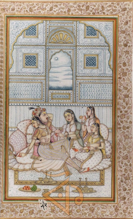 Traditional Indian art title Mughal king with queens 1 on Antique Paper - Miniature Paintings
