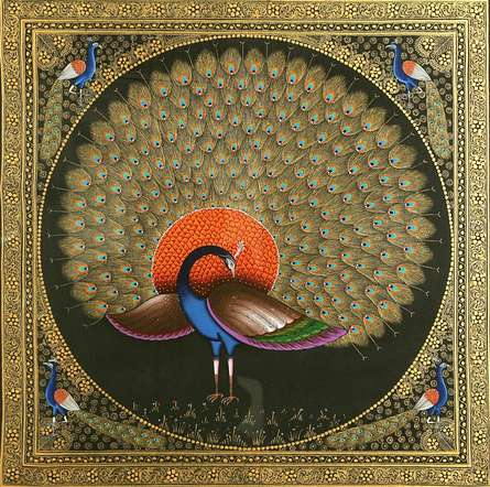 Traditional Indian art title Peacock on Silk Cloth - Miniature Paintings