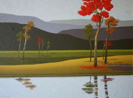 Landscape Oil Art Painting title 'Nature 5' by artist Satish Mane