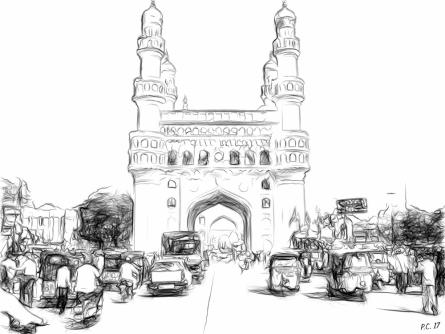 Pushkar Chatterjee | Charminar Digital art Prints by artist Pushkar Chatterjee | Digital Prints On Canvas, Paper | ArtZolo.com