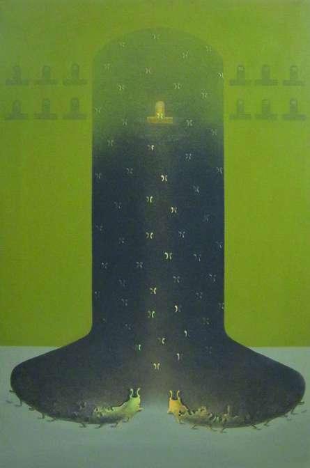 Mukesh Hattarge | Acrylic Painting title Shiv Bhakti on Canvas | Artist Mukesh Hattarge Gallery | ArtZolo.com