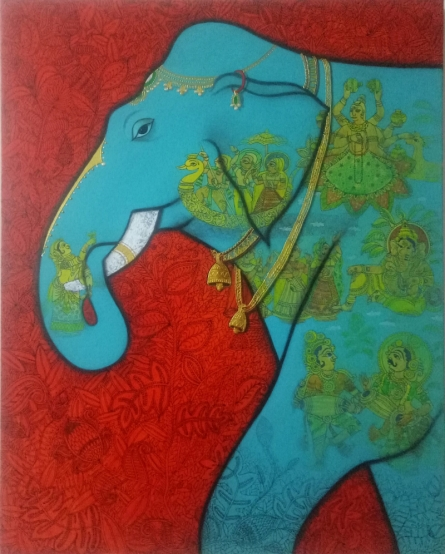 Other Mixed-media Art Painting title Elephant by artist Mukesh Diliprao Hattarge